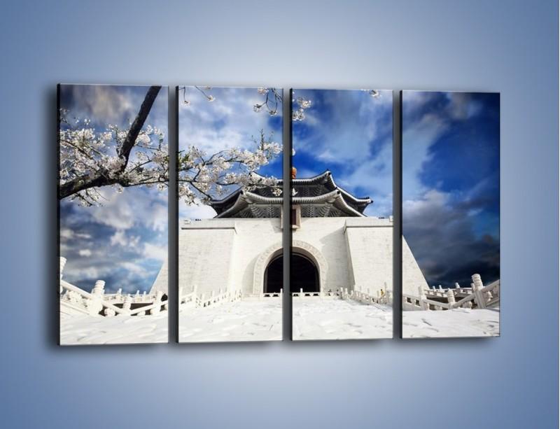 Obraz na płótnie – Azjatycka architektura z białymi kwiatami – czteroczęściowy AM300W1
