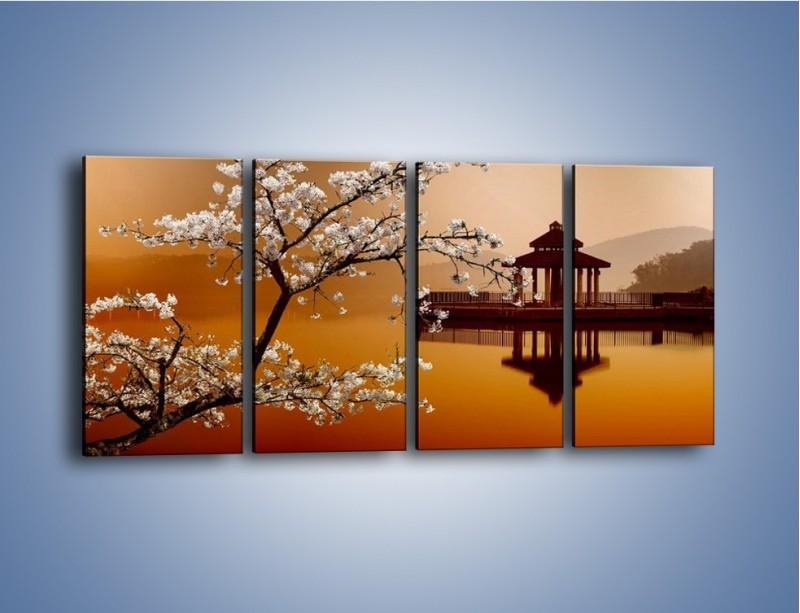 Obraz na płótnie – Kwiaty na tle Sun Moon Lake – czteroczęściowy AM301W1