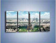 Obraz na płótnie – Chmury nad Wieżą Eiffla – czteroczęściowy AM302W1