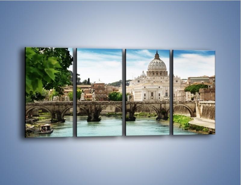 Obraz na płótnie – Rzeka Tyber na tle bazyliki – czteroczęściowy AM303W1