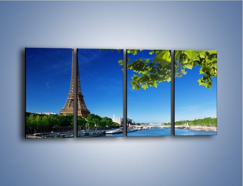 Obraz na płótnie – Wieża Eiffla w piękny dzień – czteroczęściowy AM304W1