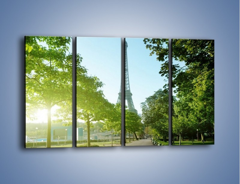 Obraz na płótnie – Uliczka w parku na tle Wieży Eiffla – czteroczęściowy AM308W1