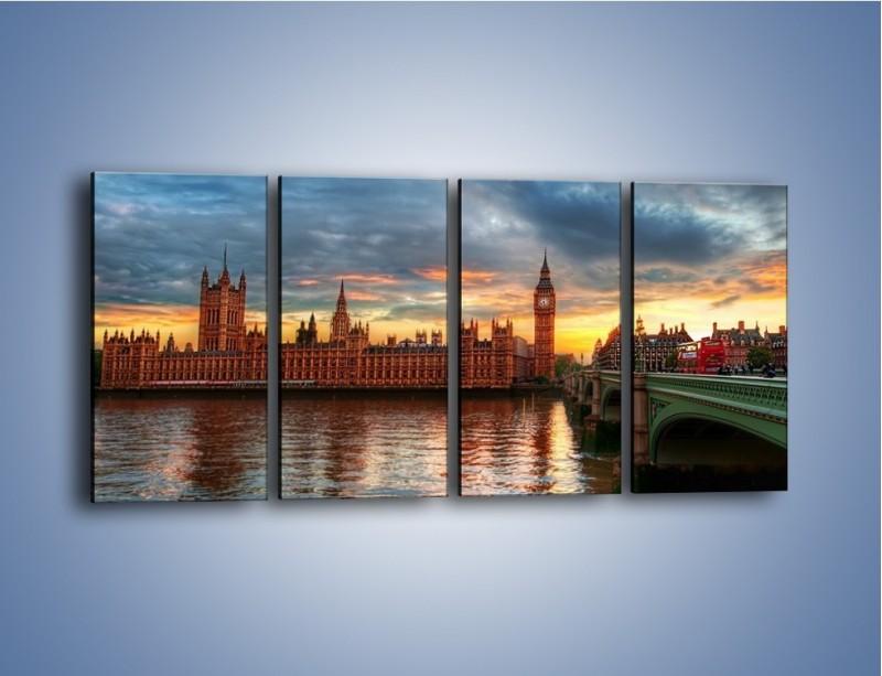 Obraz na płótnie – Pałac Westmnisterski i Big Ben – czteroczęściowy AM321W1
