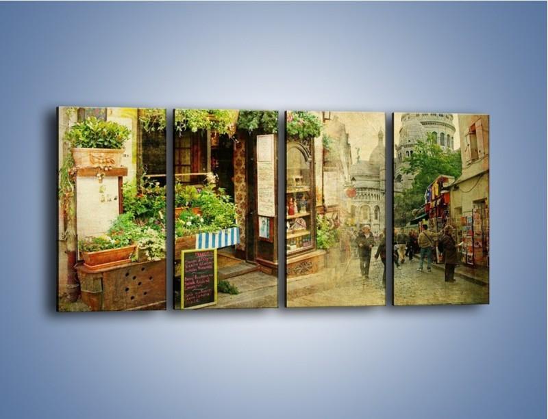 Obraz na płótnie – Paryska dzielnica Montmarte – czteroczęściowy AM323W1