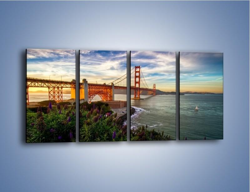 Obraz na płótnie – Most Golden Gate o zachodzie słońca – czteroczęściowy AM332W1