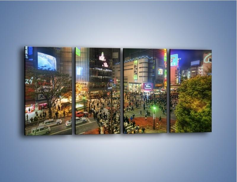 Obraz na płótnie – Zatłoczone ulice Toyko nocą – czteroczęściowy AM333W1