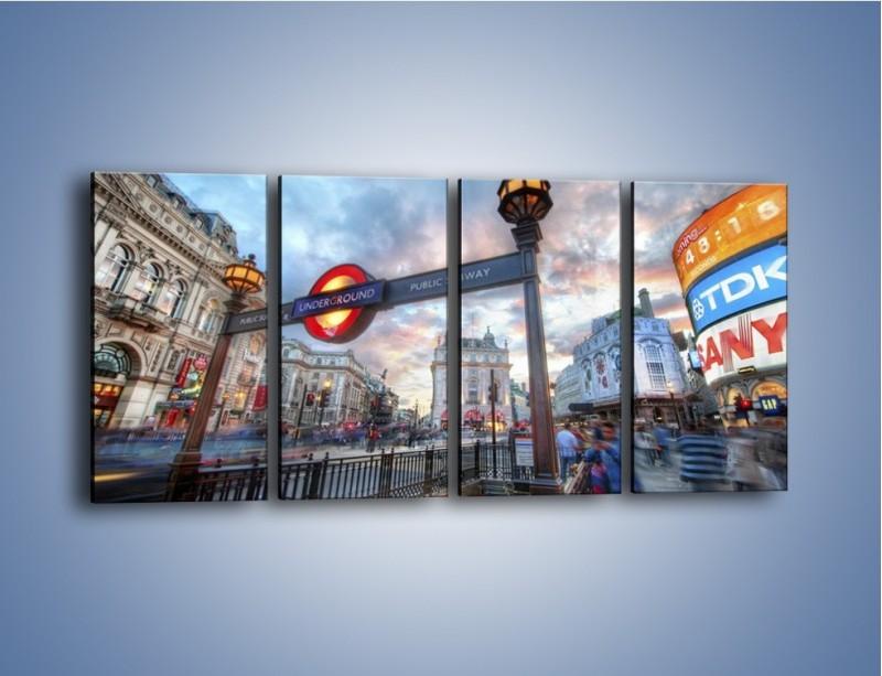 Obraz na płótnie – Wejście do londyńskiego metro – czteroczęściowy AM334W1