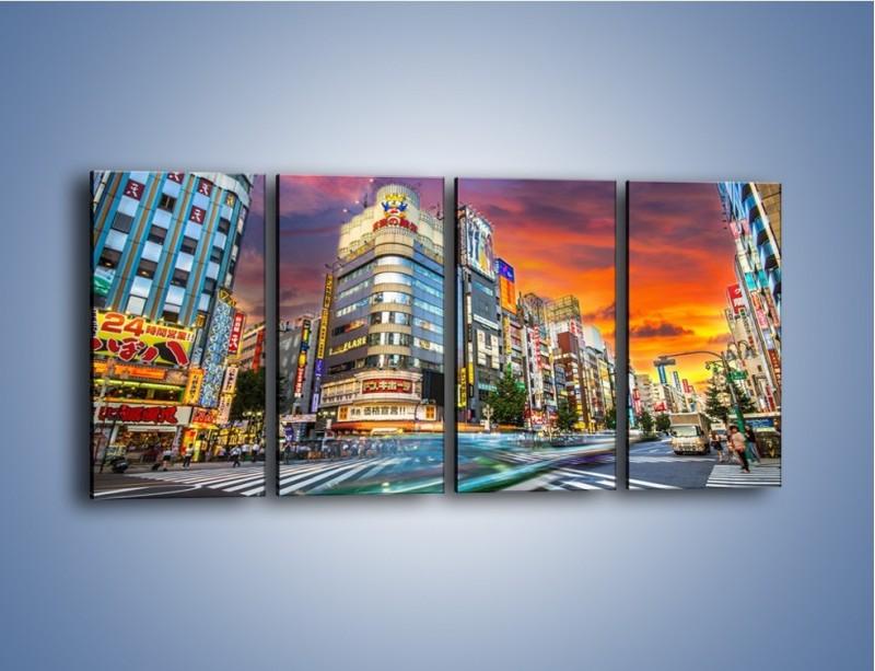 Obraz na płótnie – Tokyo na tle kolorowego nieba – czteroczęściowy AM336W1