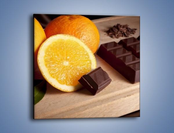 Obraz na płótnie – Czekoladowo-pomarańczowa rozkosz – jednoczęściowy kwadratowy JN094