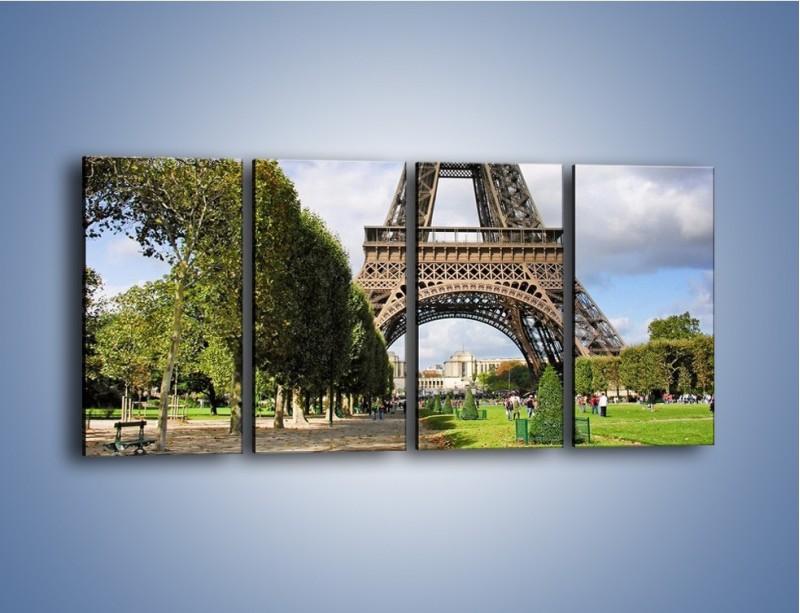 Obraz na płótnie – Wieża Eiffla – czteroczęściowy AM340W1