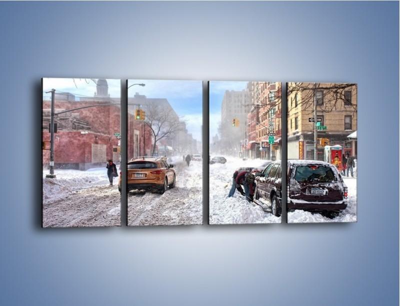 Obraz na płótnie – Zaśnieżone ulice miasta – czteroczęściowy AM342W1