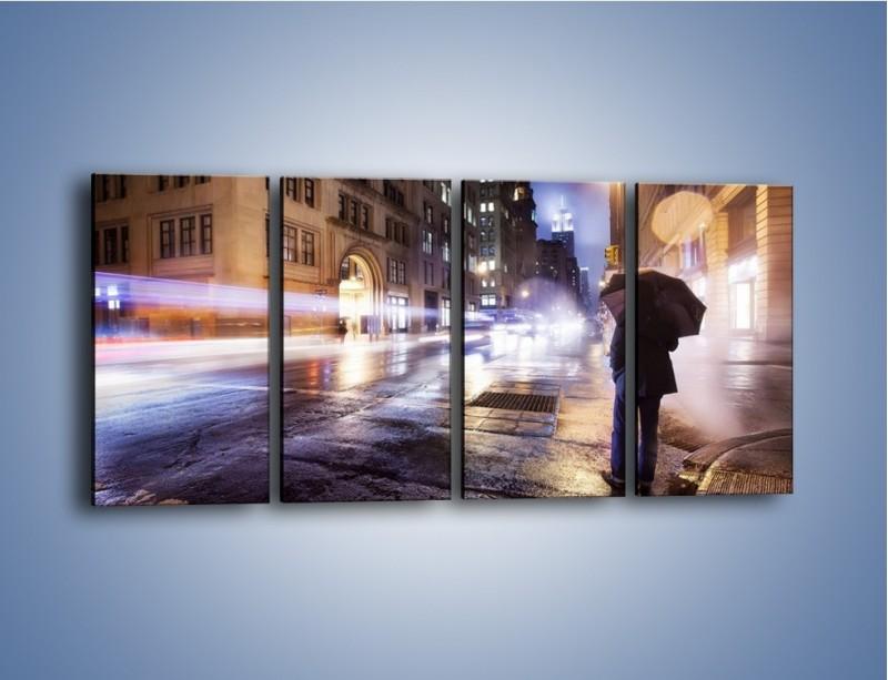 Obraz na płótnie – Deszczowa noc w Nowym Jorku – czteroczęściowy AM343W1