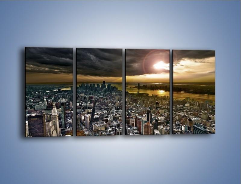 Obraz na płótnie – Czarne chmury nad Nowym Yorkiem – czteroczęściowy AM347W1