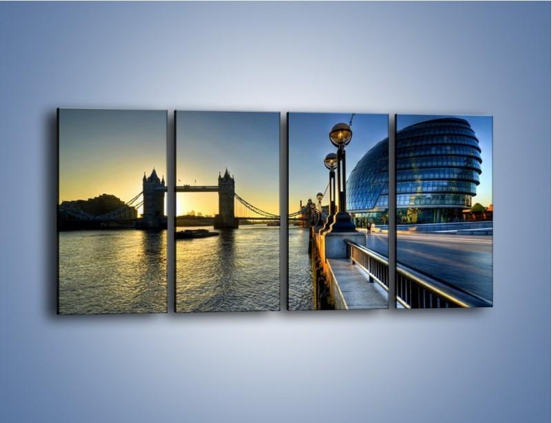 Obraz na płótnie – Londyński Tower Bridge – czteroczęściowy AM348W1