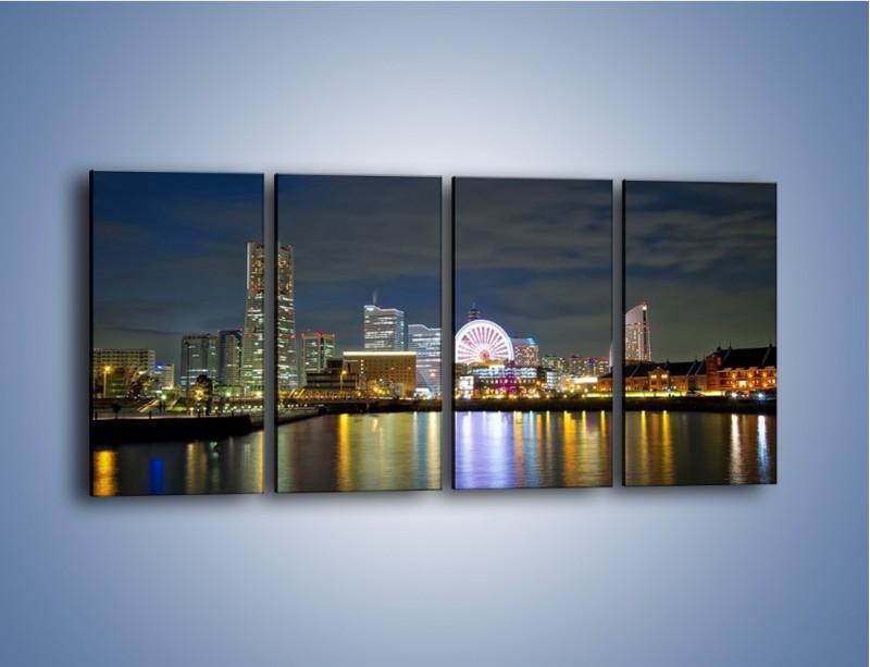 Obraz na płótnie – Yokohama nocą – czteroczęściowy AM353W1