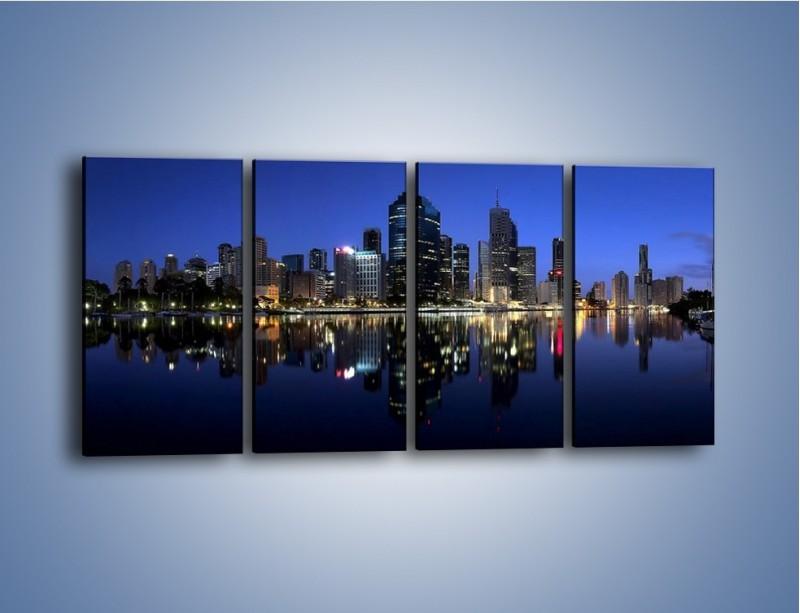 Obraz na płótnie – Brisbane w Australii nocą – czteroczęściowy AM354W1
