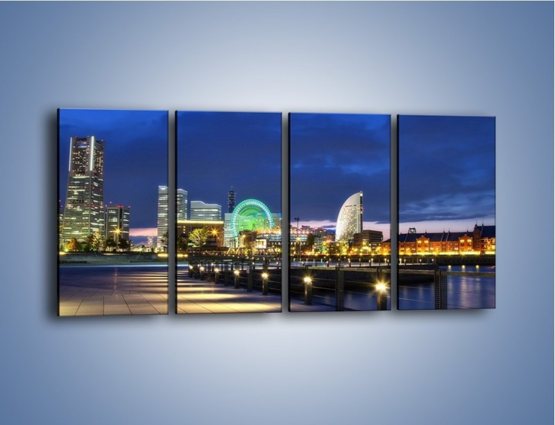 Obraz na płótnie – Rozświetlona Yokohama w nocy – czteroczęściowy AM355W1
