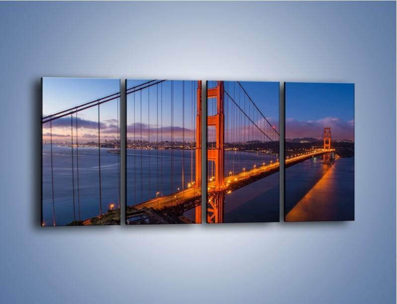 Obraz na płótnie – Rozświetlony most Golden Gate – czteroczęściowy AM360W1