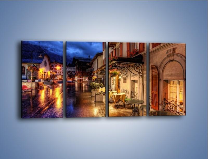 Obraz na płótnie – Romantyczne miasteczko pod Alpami – czteroczęściowy AM368W1