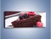 Obraz na płótnie – Czekoladowe brownie z owocami – jednoczęściowy panoramiczny JN408