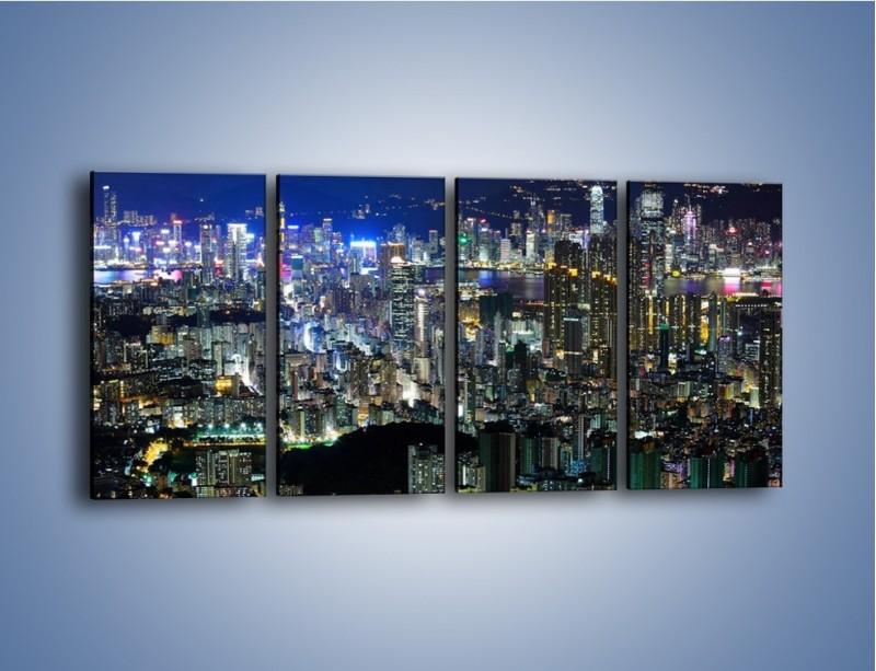 Obraz na płótnie – Drapacze chmur w Hong Kongu – czteroczęściowy AM369W1
