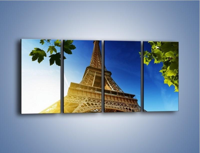 Obraz na płótnie – Wieża Eiffla w pełnej krasie – czteroczęściowy AM372W1