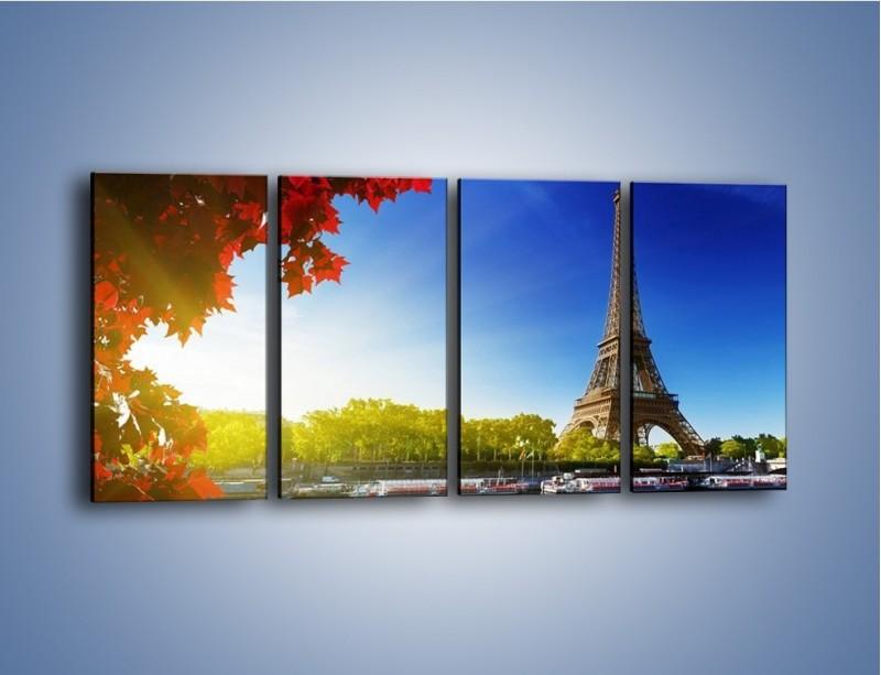 Obraz na płótnie – Wieża Eiffla w piękny dzień – czteroczęściowy AM373W1