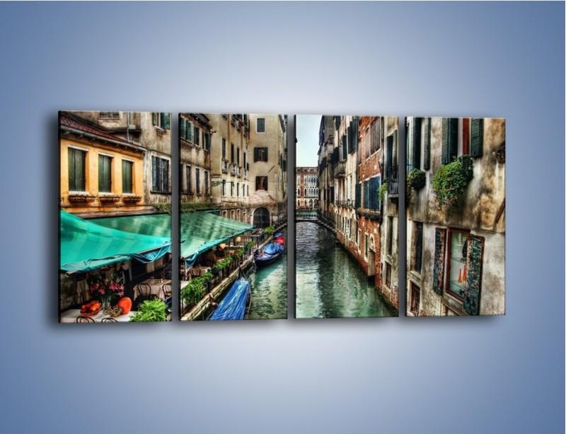 Obraz na płótnie – Wenecka uliczka w kolorach HDR – czteroczęściowy AM374W1