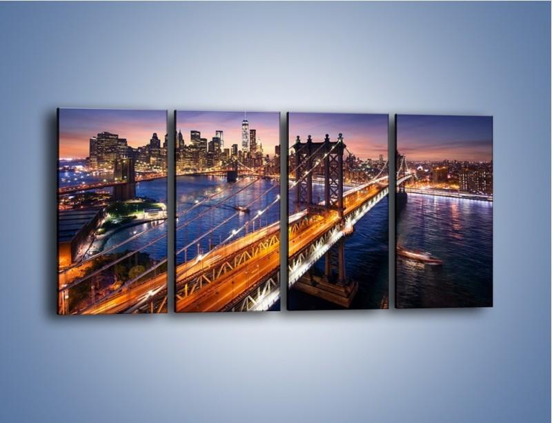 Obraz na płótnie – Zachodzące słońce nad Manhattanem – czteroczęściowy AM377W1