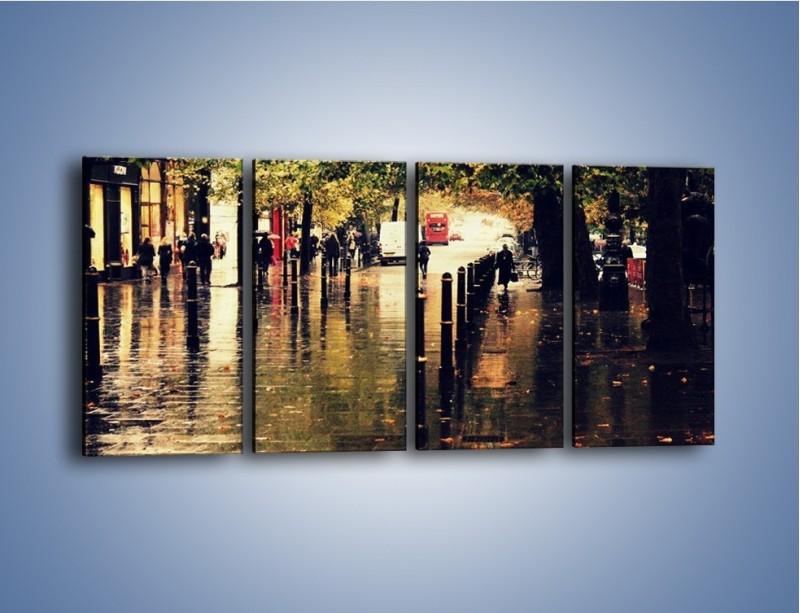 Obraz na płótnie – Deszczowa jesień w Moskwie – czteroczęściowy AM383W1