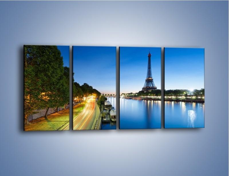 Obraz na płótnie – Zapadający zmrok w Paryżu – czteroczęściowy AM385W1