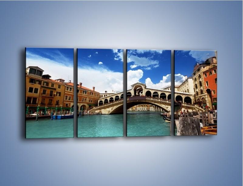 Obraz na płótnie – Most Rialto w Wenecji – czteroczęściowy AM386W1