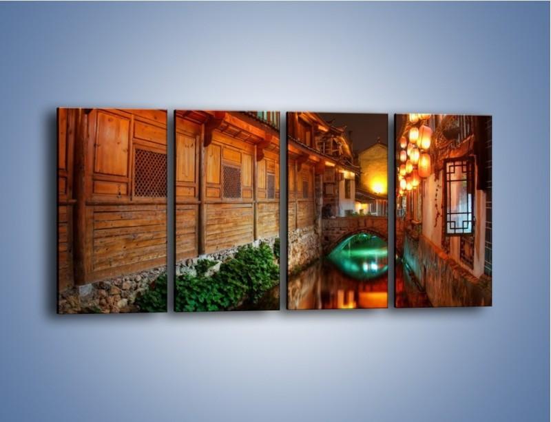 Obraz na płótnie – Kanał w chińskim mieście Lijiang – czteroczęściowy AM391W1