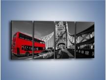 Obraz na płótnie – Tower Bridge i czerwony autobus – czteroczęściowy AM394W1
