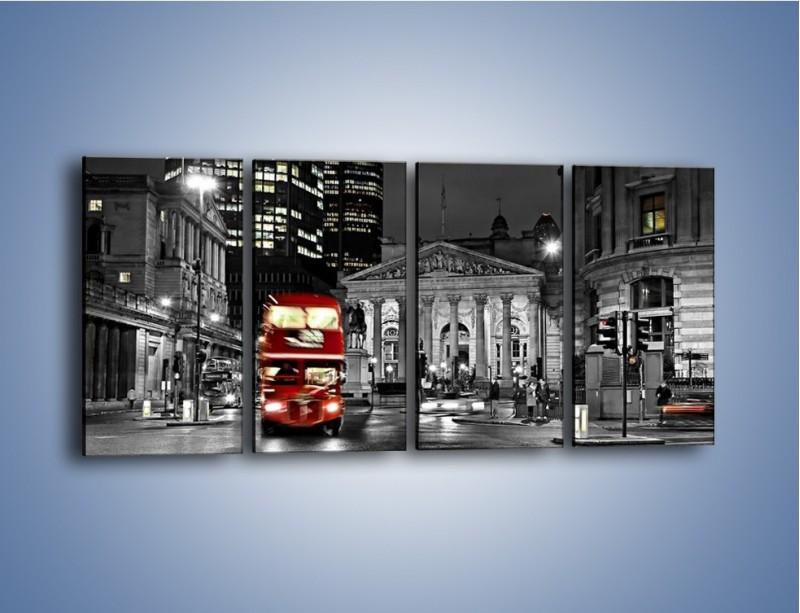 Obraz na płótnie – Czerwony autobus w Londynie – czteroczęściowy AM395W1
