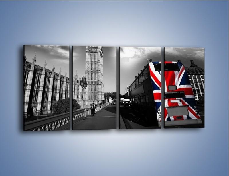 Obraz na płótnie – Big Ben i autobus z flagą UK – czteroczęściowy AM396W1