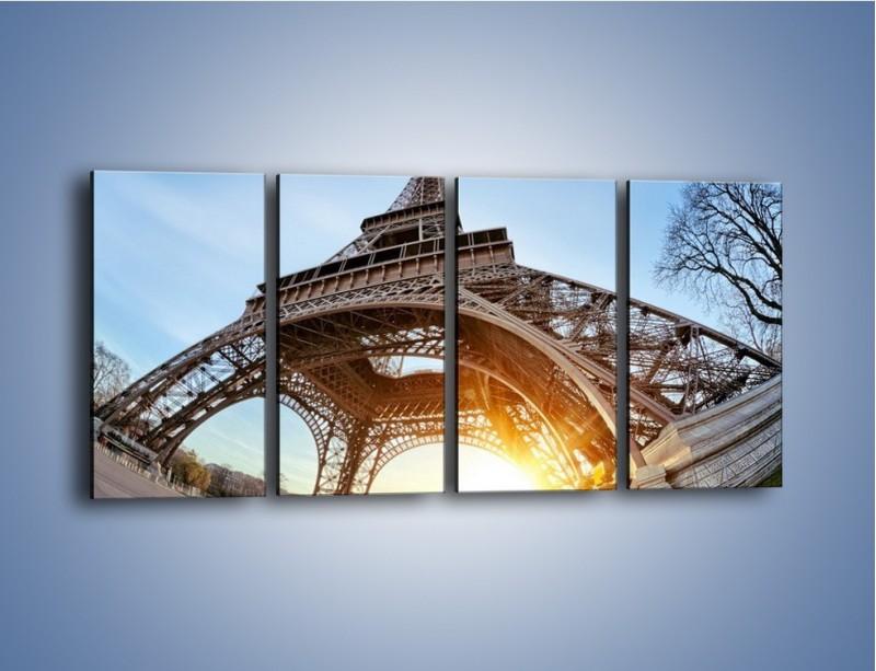 Obraz na płótnie – Wieża Eiffla w słońcu – czteroczęściowy AM403W1