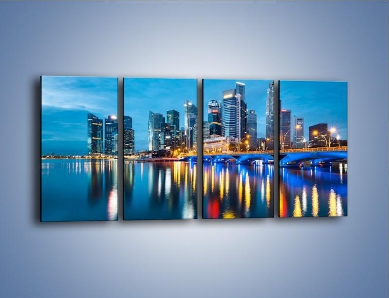 Obraz na płótnie – Kolorowe światła Singapuru – czteroczęściowy AM408W1