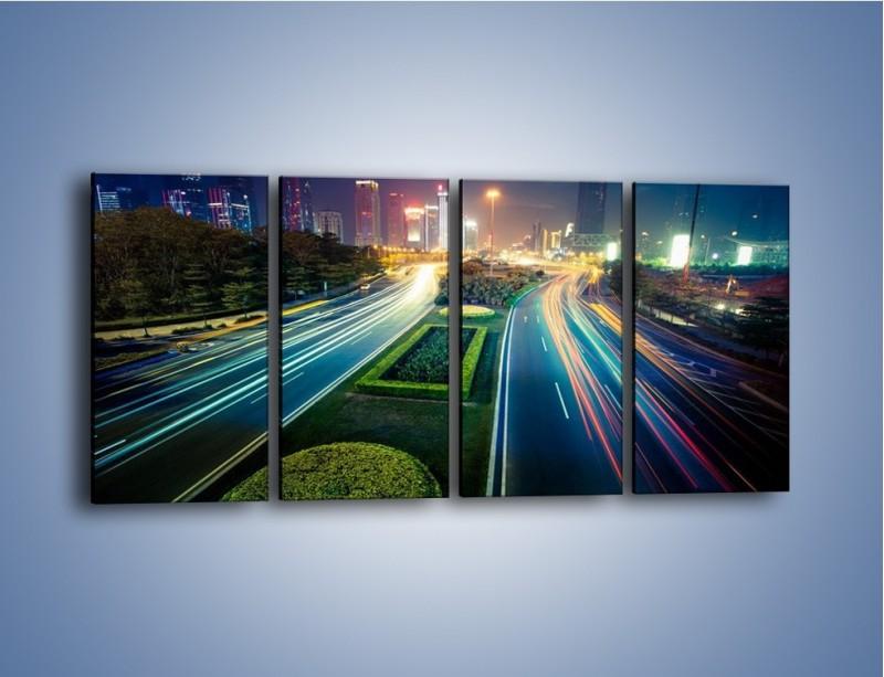 Obraz na płótnie – Uliczne światła Szanghaju – czteroczęściowy AM409W1