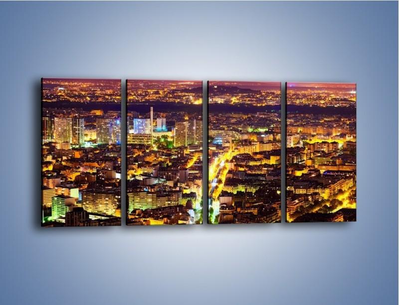 Obraz na płótnie – Kolory Paryża nocą – czteroczęściowy AM419W1