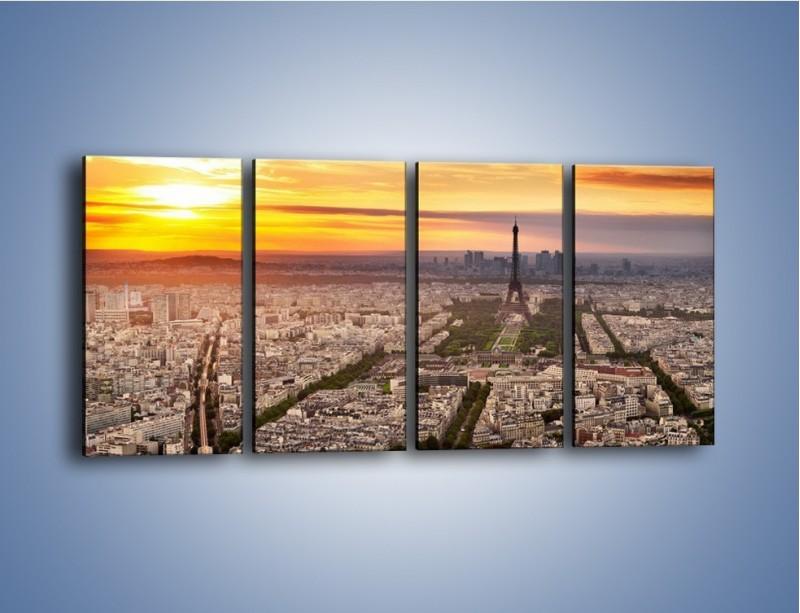 Obraz na płótnie – Zachód słońca nad Paryżem – czteroczęściowy AM420W1