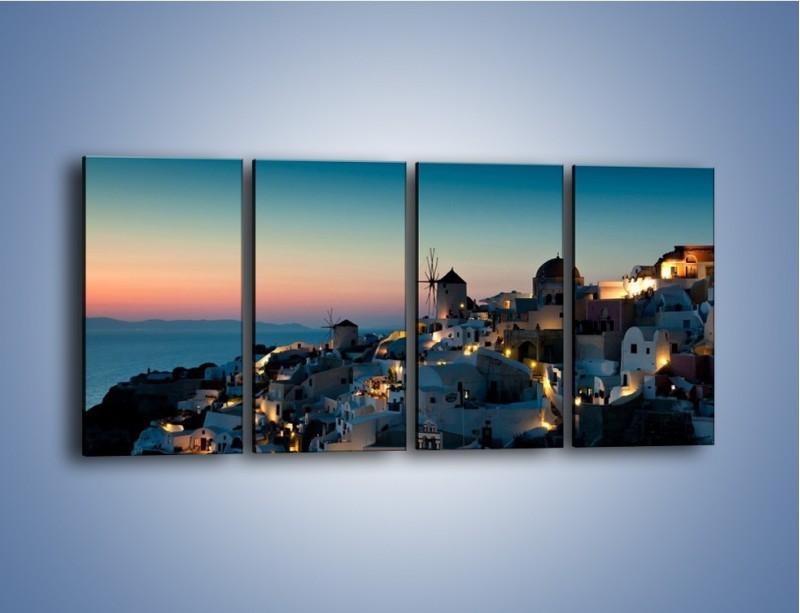 Obraz na płótnie – Domki na Santorini po zmierzchu – czteroczęściowy AM421W1