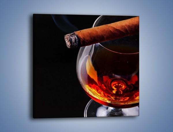 Obraz na płótnie – Męski świat z whisky i cygarem – jednoczęściowy kwadratowy JN096