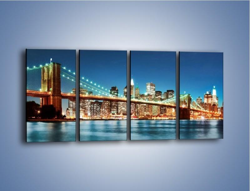 Obraz na płótnie – Most Brookliński na tle Nowego Jorku – czteroczęściowy AM428W1