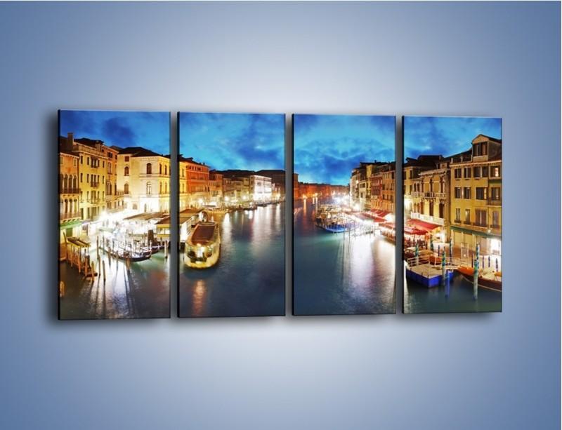 Obraz na płótnie – Światła Wenecji po zmroku – czteroczęściowy AM430W1
