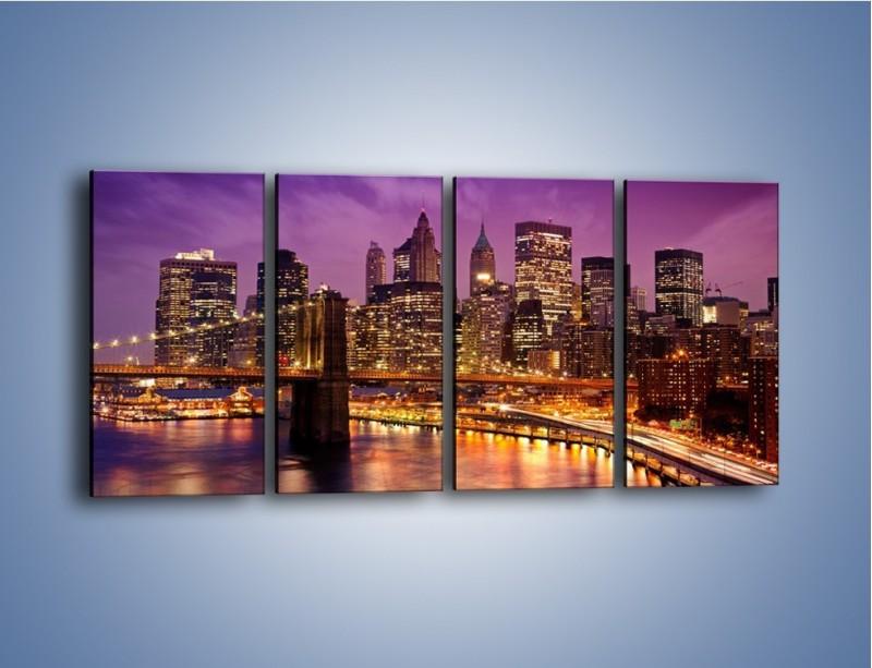 Obraz na płótnie – Nowy York pod fioletowym niebem – czteroczęściowy AM434W1
