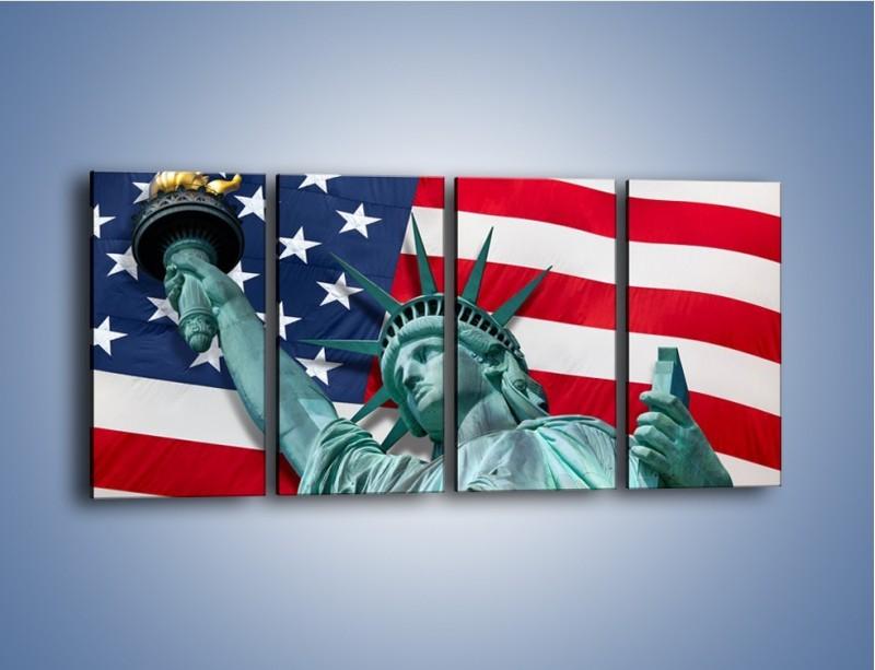 Obraz na płótnie – Statua Wolności na tle flagi USA – czteroczęściowy AM435W1