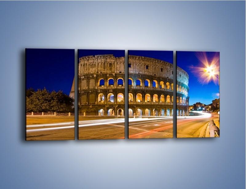 Obraz na płótnie – Koloseum po zmierzchu – czteroczęściowy AM443W1