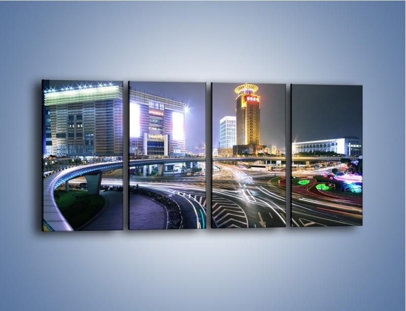 Obraz na płótnie – Oświetlone skrzyżowanie ulic w Szanghaju – czteroczęściowy AM446W1