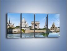 Obraz na płótnie – Atrakcje turystyczne Paryża – czteroczęściowy AM448W1